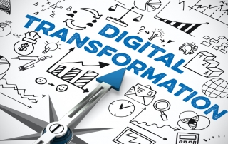 Digital Business Transformation concept with arrow of compass